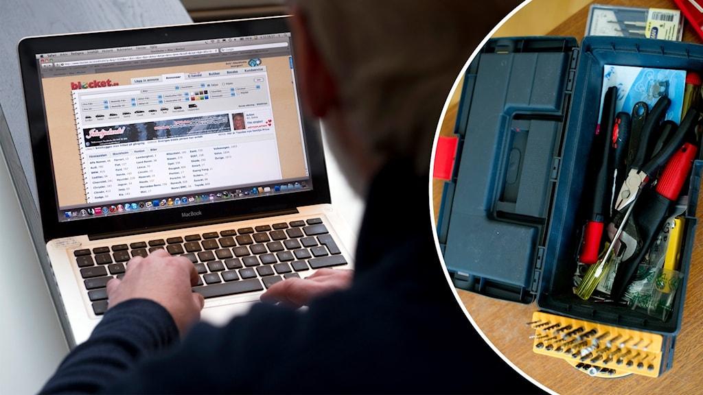 laptop och verktygslåda