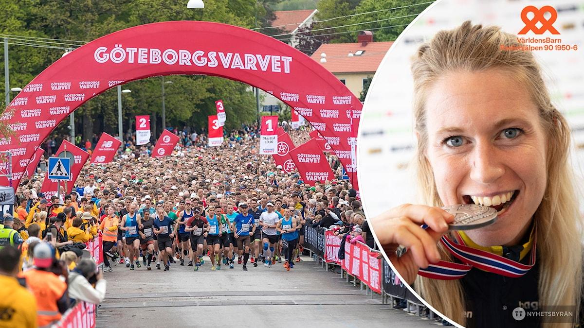 Massor med löpare stratar i Göteborgsvarvet. Infälld en bild på Orienteraren Lina Strand som biter i en silvermedalj.