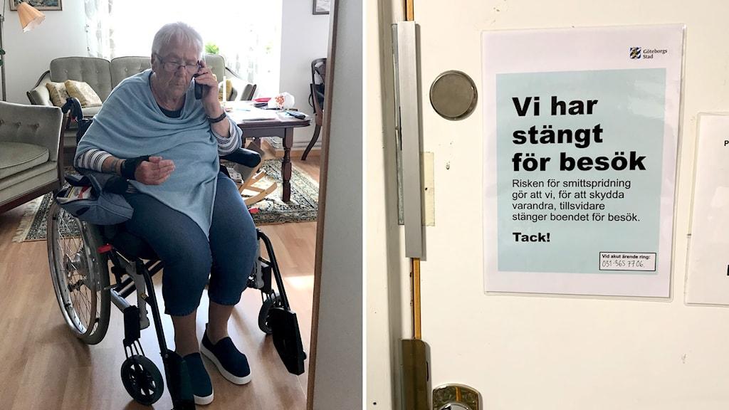 Äldre kvinna i rullstol