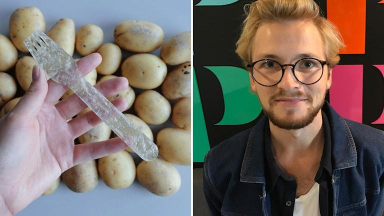Pontus Törnqvist har skapat bestick av potatis