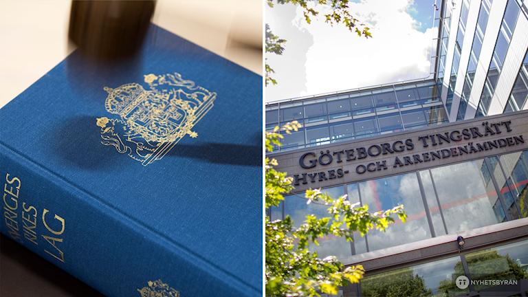 en lagbok. till höger syns fasaden till Göteborgs tingsrätt.