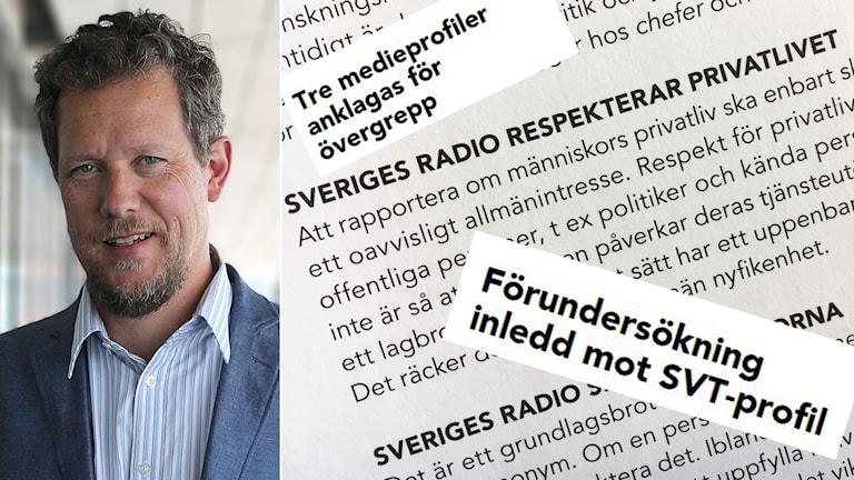 En man till vänster. Till höger rubriker och utdrag ur Sveriges radios regler.