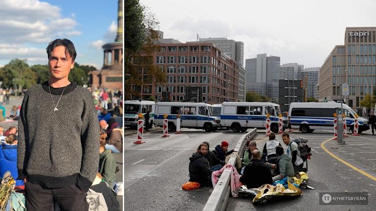 Tvådelad bild: Till vänster en man som står i en folkmassa. Till höger syns människor som sitter på marken på en bro. Bakom dem har polisbussar ställts upp som en mur.