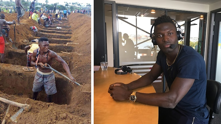 En bild på en man som gräver en grav och en bild på en ung man