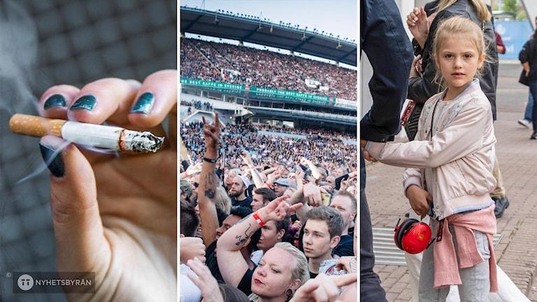 Ett collage med tre bilder: En hand som håller en tänd cigarett. Publiken på Ullevi när Metallica spelar. Prinsessan Estelle på väg in till Ullevi.