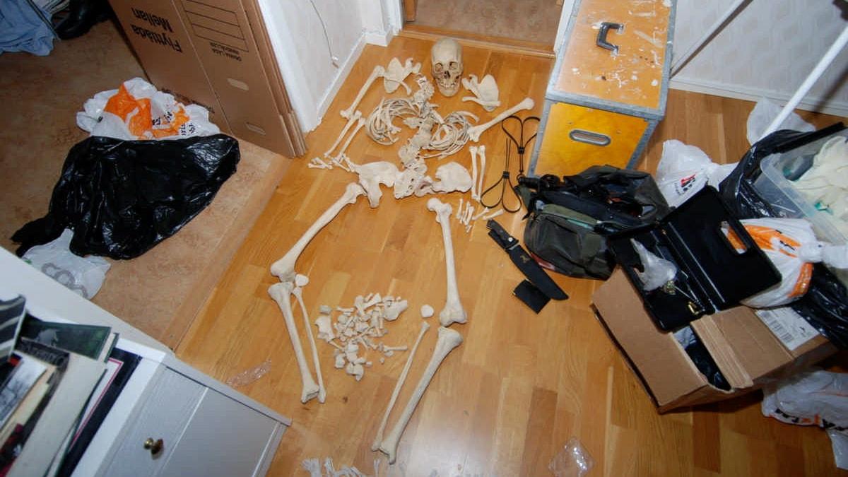 Skelettdelar utlagda på golvet i kvinnans vardagsrum skapar nästan ett komplett människoskelett. Foto: Polisen, förundersökningsmaterial