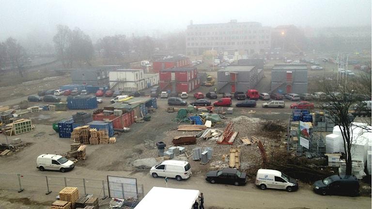 Utsikt över byggarbetsplatsen där det nya Kvillebäcken byggs. Foto: Mattias Bolin/Sveriges Radio.