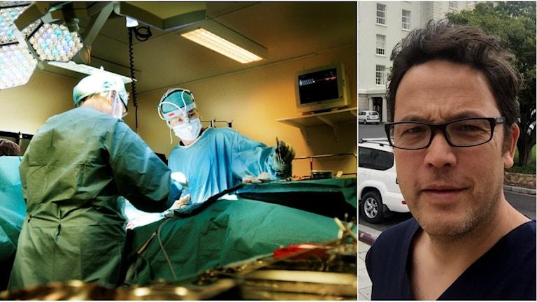 Kirurger opererar. Till vänster överläkare Ragnar Ang.