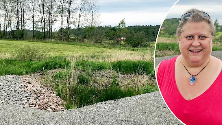En grop intill en äng. I förgrunden syns grus. Infälld finns en kvinna klädd i en ceriserosa topp.