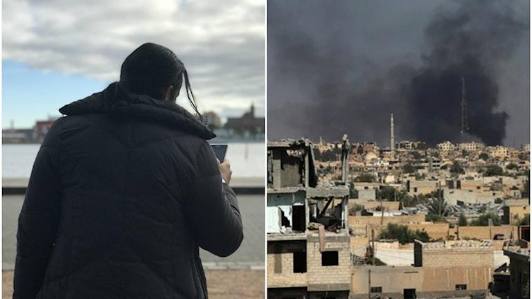 Ryggtavlan av Ahmed och en stadsbild på ett sönderbombat Raqqa.