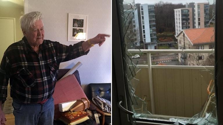 Kurt pekar på sin trasiga balkongdörr som är full av vassa glasskärvor