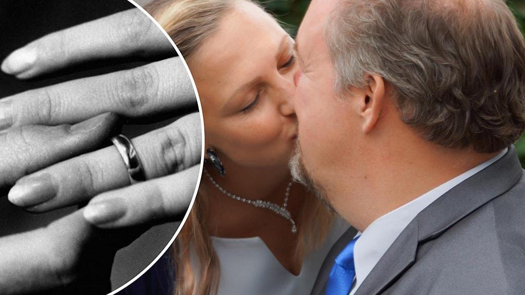 Tvåsplitt med bröllopsringar på en bild och brudpar på andra