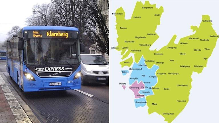 En bild med en buss och en med en karta