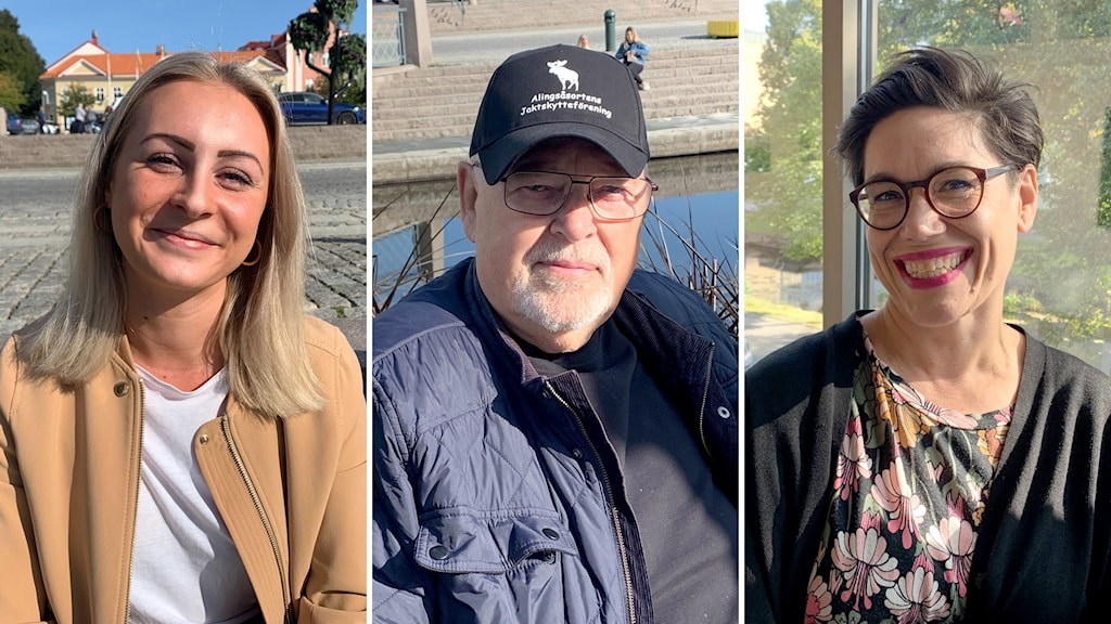 Tre personer på torget i Alingsås.