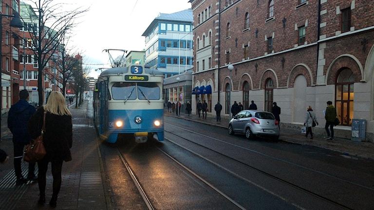 Spårvagn på Karl Johansgatan i Majorna. Foto: Johanna Storm/P4 Sveriges Radio Göteborg
