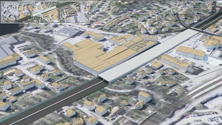 Ett av förslagen till hur E20 i Alingsås ska grävas ner och täckas över.