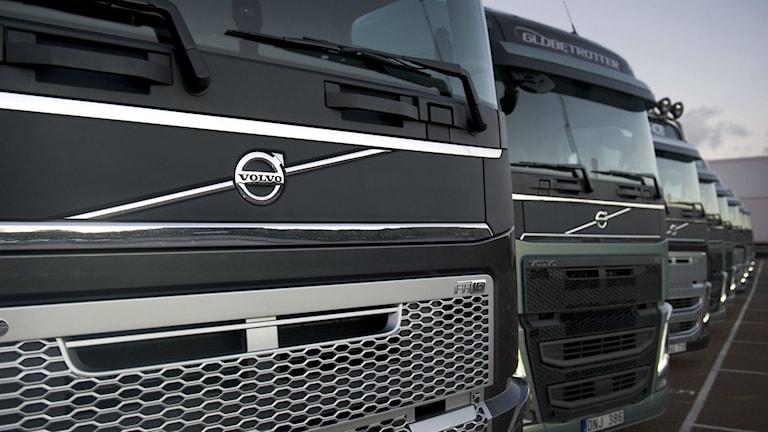 En rad med Volvos nyutvecklade lastbilsserie.