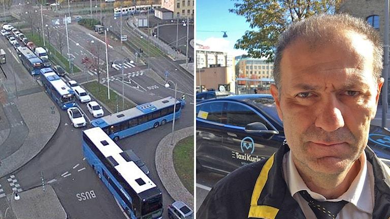 Bilar och bussar i kö vid Åkareplatsen sett uppifrån. Till höger taxichauffören Taxichaufför Louai Daoud.