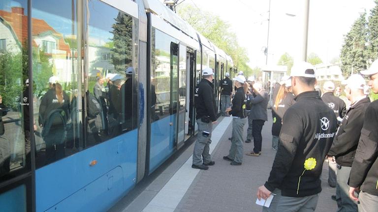 Hållplatskontroll vid hållplatsen Härlanda