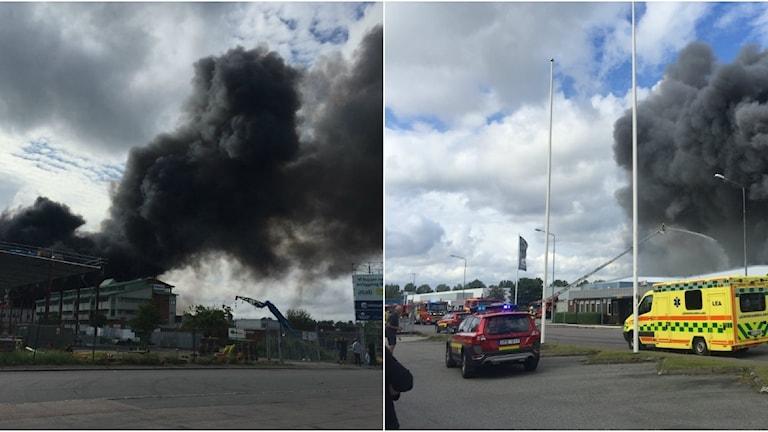 Kraftig rökutveckling vid branden i Mölndal