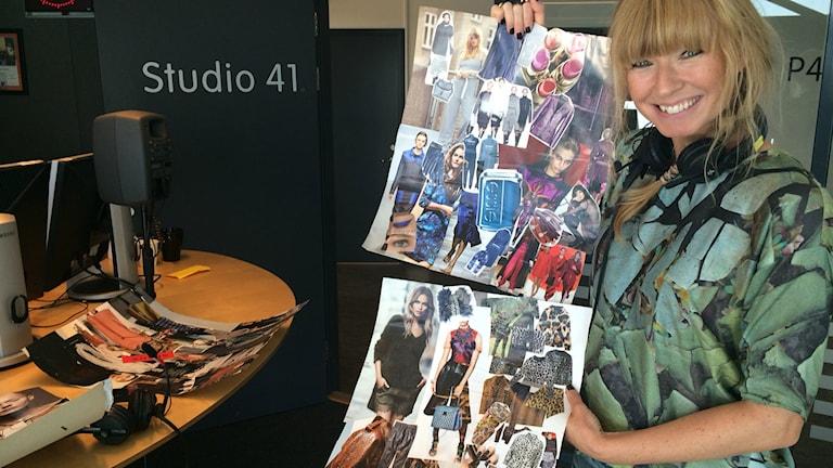 Frida Zetterström som med sina collage över årets höstmode.