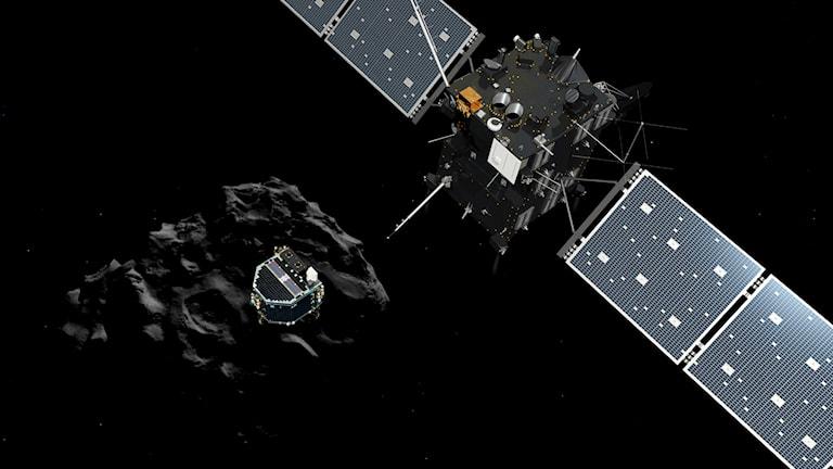 Rymdsonden Rosetta och landaren Philae vid kometen 67P Foto ESA
