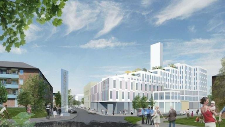 Vy över nya Opaltorget. Fotomontage Stadsbyggandskontoret