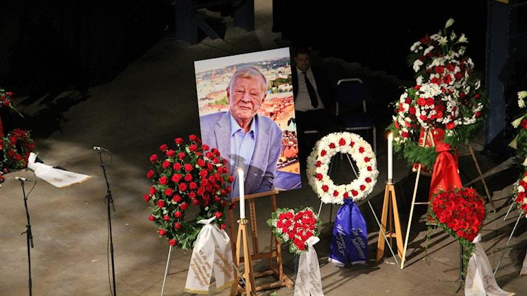 Göran Johanssons begravningsceremoni Eriksberg idag. Foto: Josipa Kesic/SR