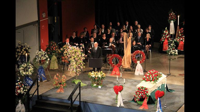 Gunnar Larsson om Göran Johansson vid begravningsceremonin idag. Reporter Josipa Kesic/SR
