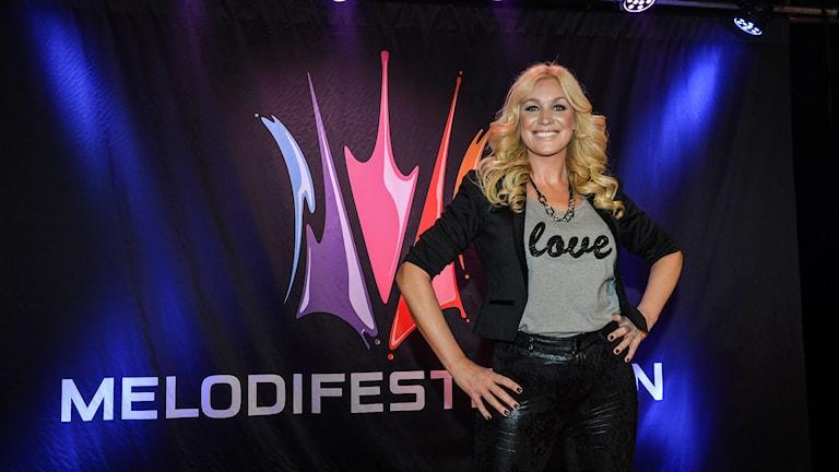 Jessica Andersson tävlar i Melodifestivalens första deltävling som avgörs i Göteborg. Foto: Anders Wiklund / TT