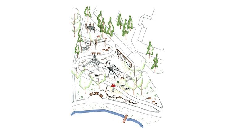 Skiss över aktivitetsparken Spindelskogen i Floda. Foto: Tyréns
