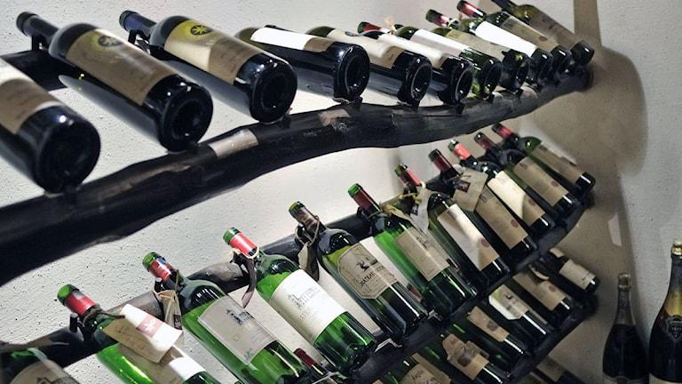 Vinflaskor i hylla. Foto: Gurinder Osan/TT