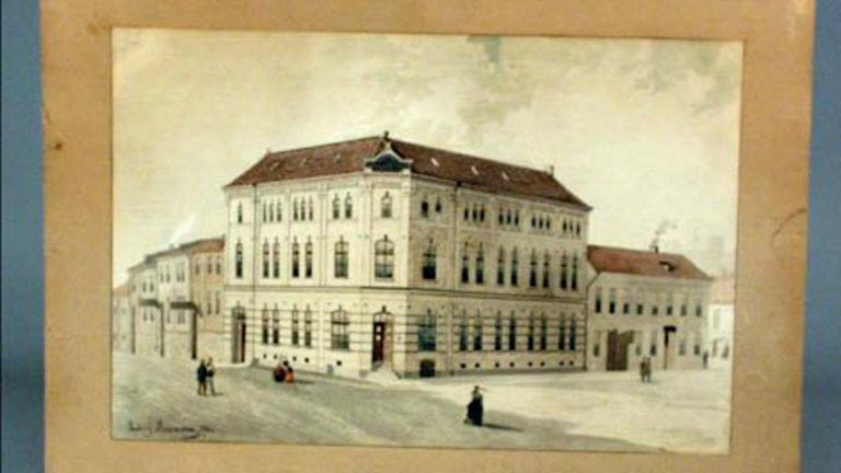Byggnaden som hyste Göteborgs handels- och Sjöfartstidning och dess tryckeri