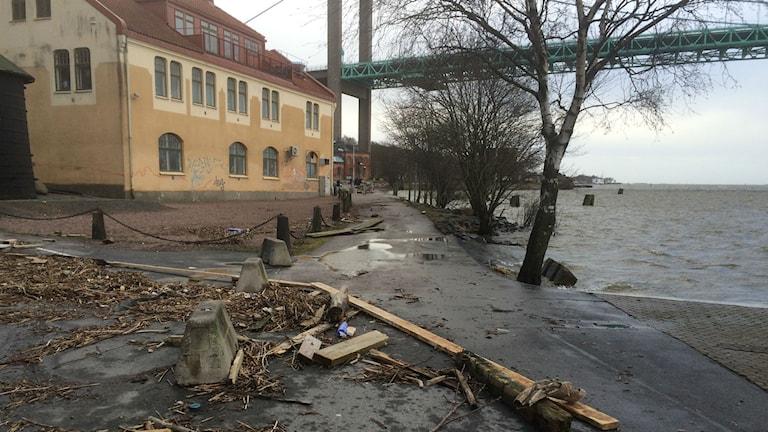 Effekter av stormen Egon vid Röda sten med träspillror vid vattnet. Foto: Peter Stenberg/Sveriges Radio