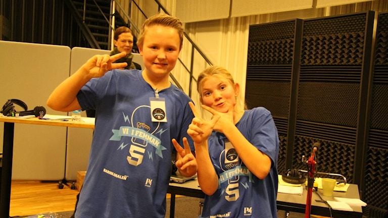 Gustav Ringhagen och Ebba Franklin tävlar för Skutehagen 5D. Foto: Madeleine Blidberg