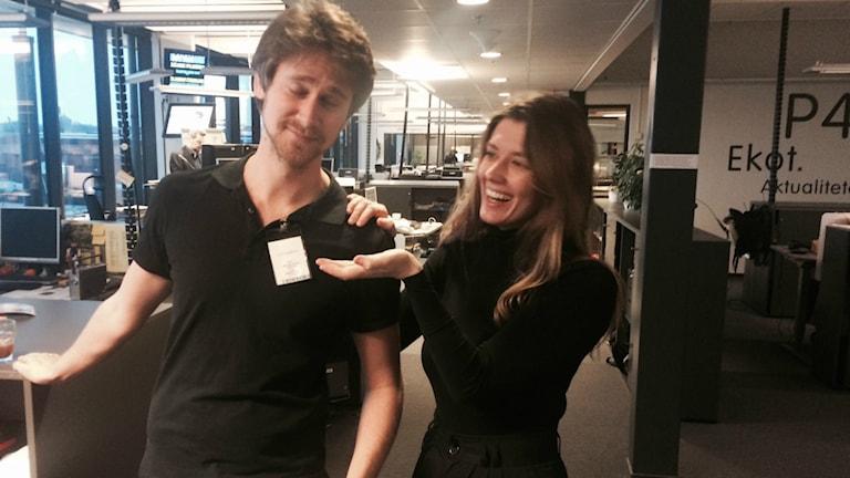 Per Johansson och Sveriges Radios Aldijana Talic var två av sex personer som dök upp på fredagens #postitdate. Foto: Privat