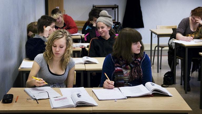 Gymnasieelever i skolbänkar. Foto: Karin Malmhav/TT Bild