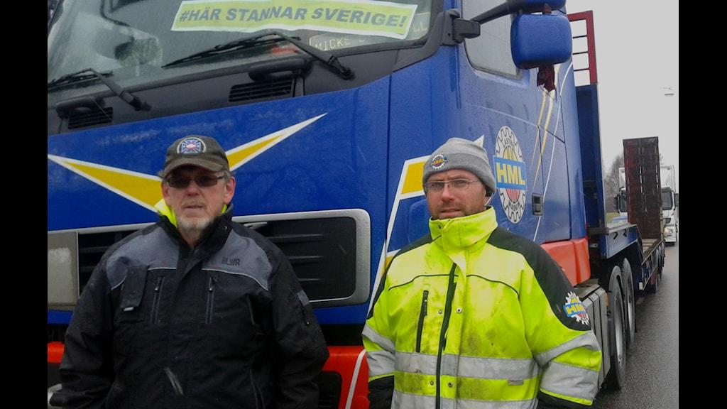 Freddy Welle och Michael Högberg, initiativtagare till lastbilschaufförernas protest i Göteborg