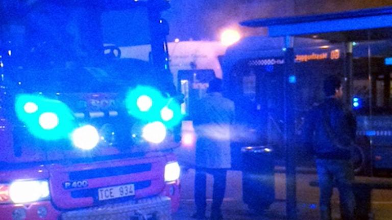 Räddningstjänsten var först på plats vid spårvagnsolyckan. Foto: Sara Hellman / Sveriges Radio P4 Göteborg.