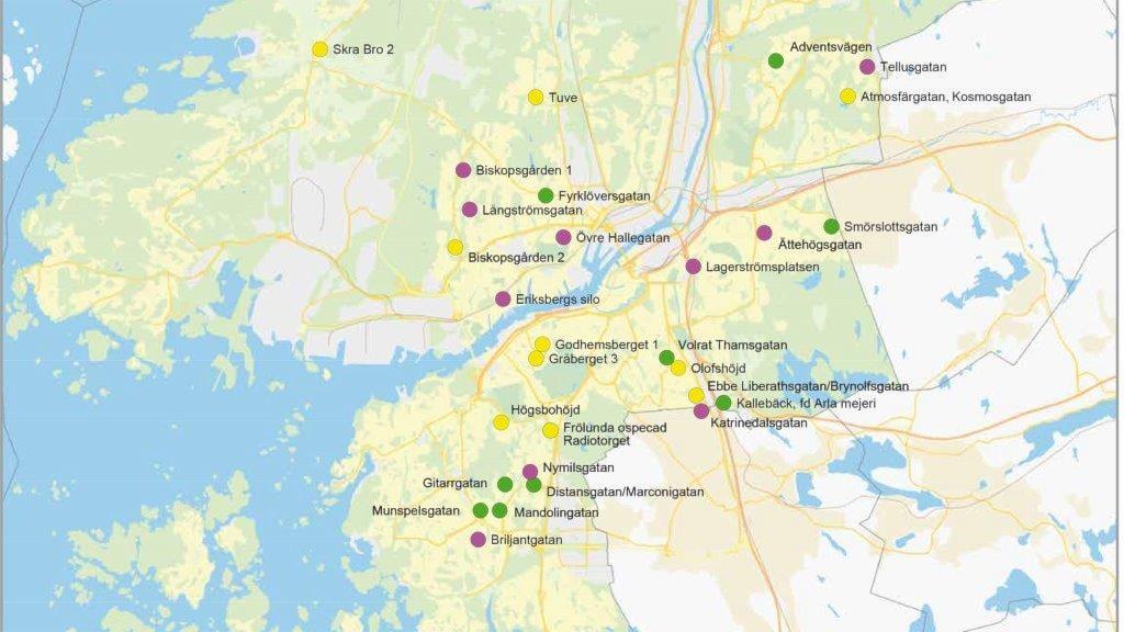 Föreslagna områden för jubileumssatsningen. Ett område i Angered ingår också, utöver dessa. Foto: Göteborgs stad