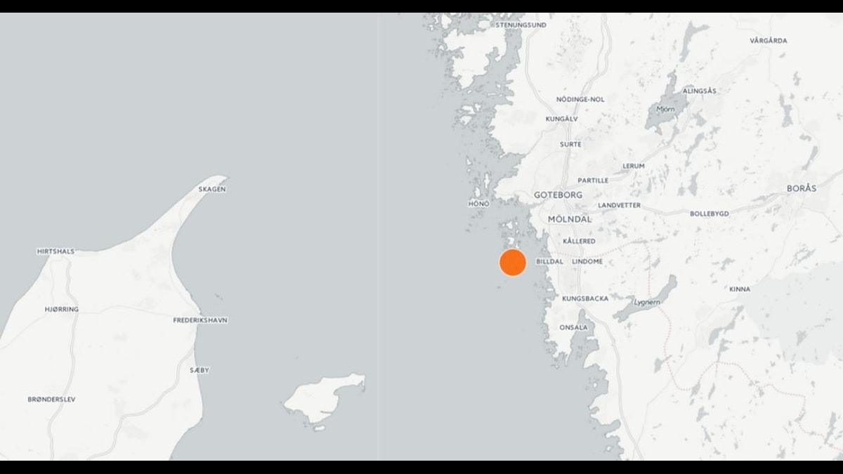 Jordskalv söder om Vrångö Grafik: SR