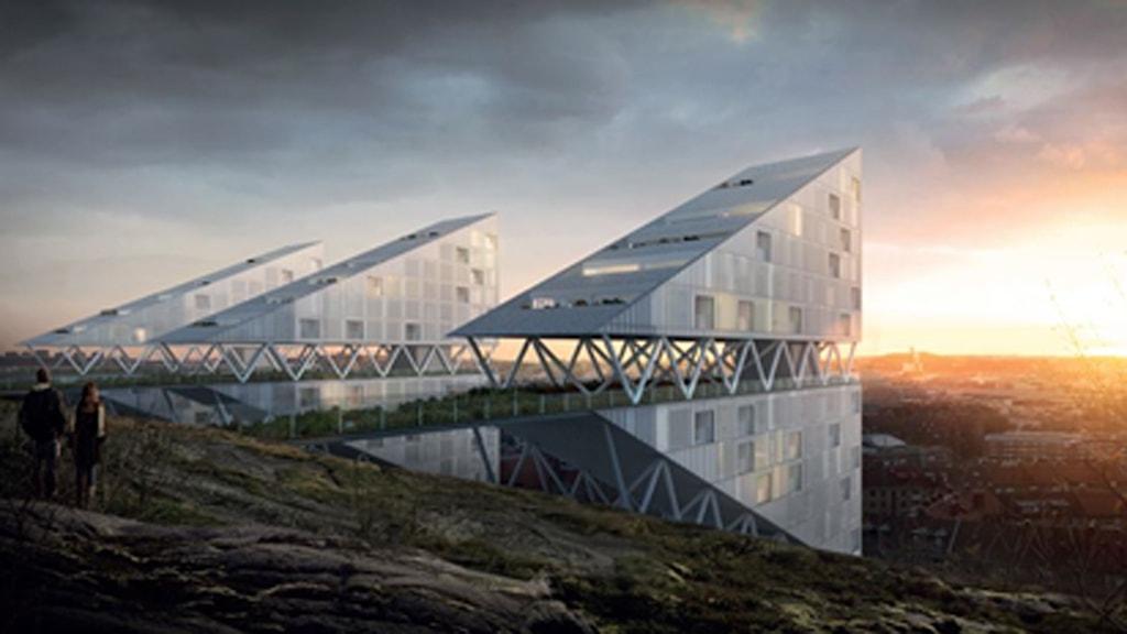 Kontorshus på berget ovanför Norra Gubberogatan i Gårda.