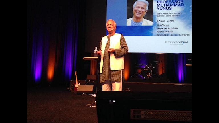 Muhammad Yunus talar i Göteborg. Foto: Lina Persson/SR.