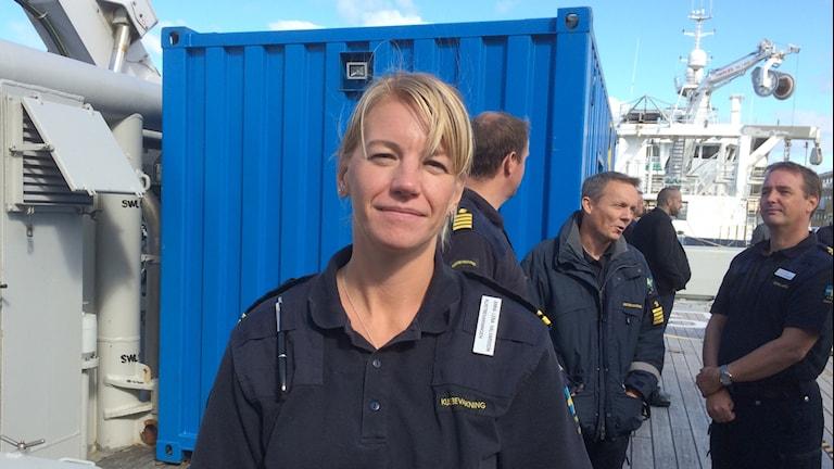 Anna-Lena Halvarsson, Kustbevakningen ombord på Poseidon. Foto: Peter Stenberg/SR