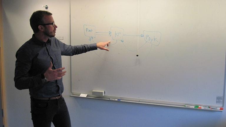 Chefen för Kontaktpunkten Anders Jarlborg visar på en vit tavla schematiskt hur informationen går. Foto: Epp Anderson/Sveriges Radio