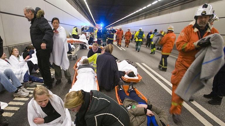 Katastrofövning i en tunnel. Foto: Drago Prvulovic /TT BIld