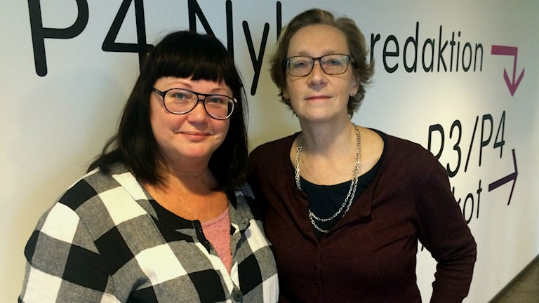 Maria Gustafsson, P4:s teknikexpert och Anna Hammarén, forskare i mediejuridik. Foto: Susanne Ehlin /SR