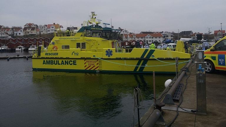 Den nya ambulansbåten som utgår från Donsö. Foto: Lasse Nilsson/Sveriges Radio