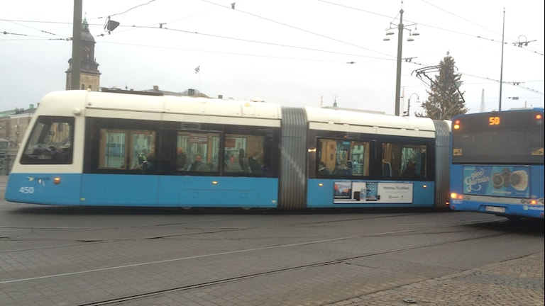 Buss och spårvagn i Brunnsparken i Göteborg. Foto: Peter Stenberg/Sveriges Radio