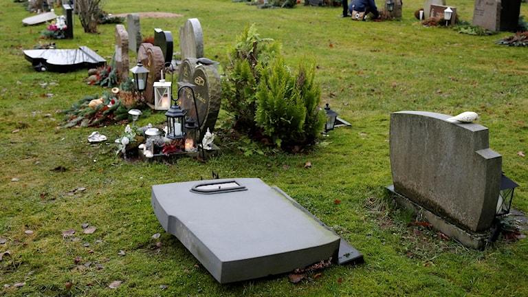 Skändade gravar vid Kvastekulla kapell i Partille. Foto: Adam Ihse / TT